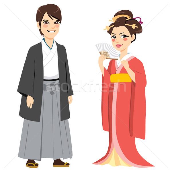 Японский традиционный пару молодые счастливым Сток-фото © Kakigori
