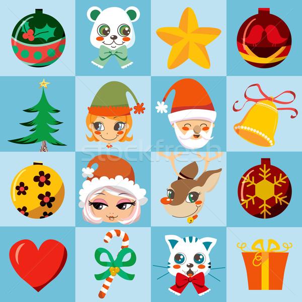 Stockfoto: Christmas · iconen · veel · cute · kleurrijk · motieven