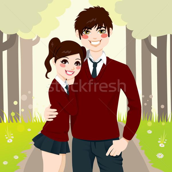 High School Couple Hugging Stock photo © Kakigori