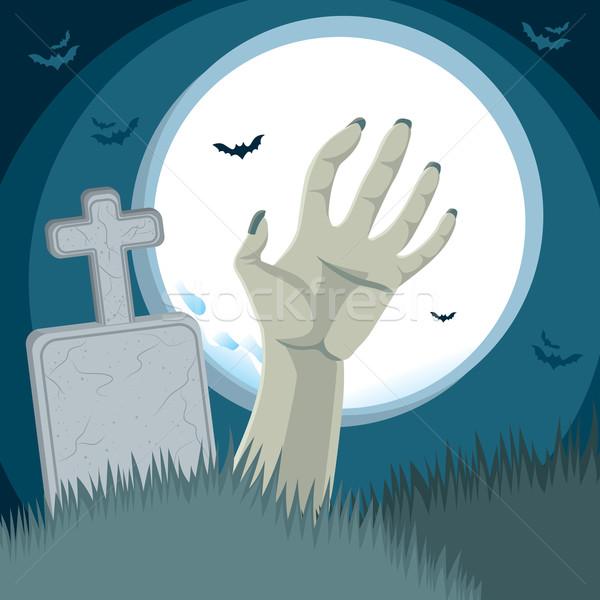 Photo stock: Zombie · main · cimetière · grave · sol