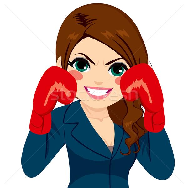Businesswoman Fighter Gloves Stock photo © Kakigori