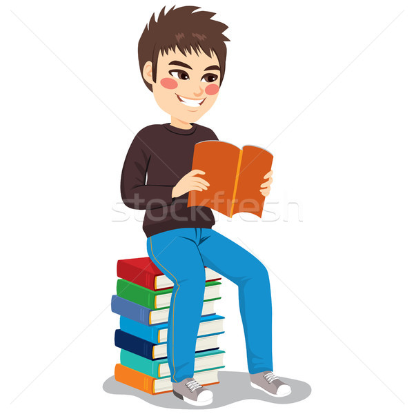 Student Boy Book Stack Stock photo © Kakigori