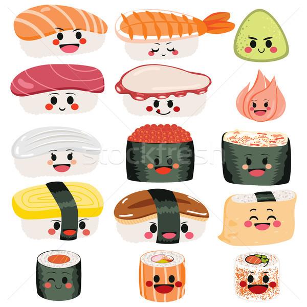 Sushi bonitinho conjunto engraçado feliz sashimi Foto stock © Kakigori