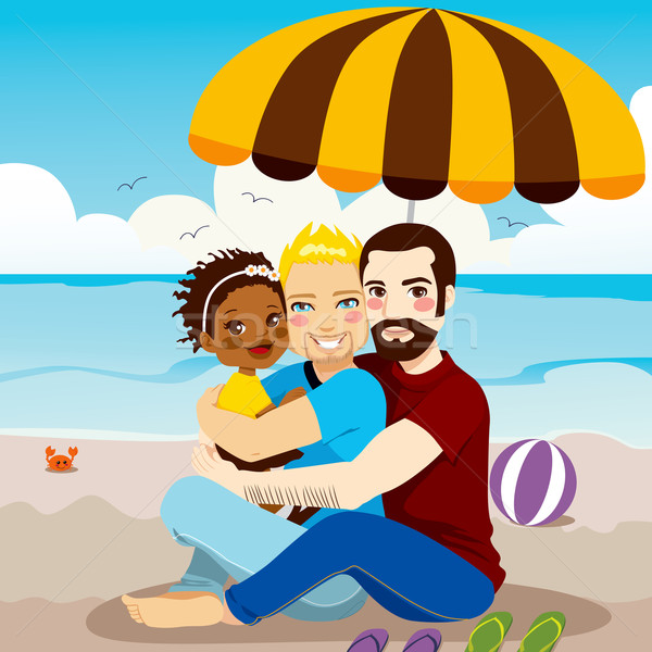 Gelukkig homo familie paar genieten dag Stockfoto © Kakigori