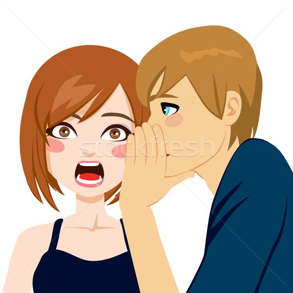 Woman Surprised By Secret Gossip Stock photo © Kakigori