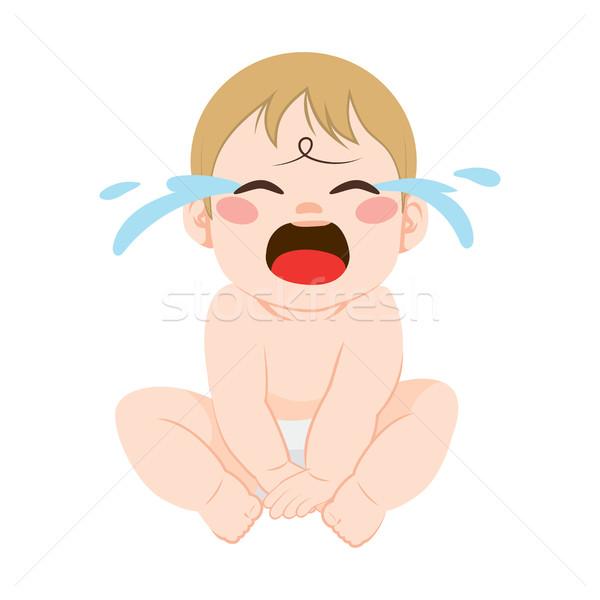 Bebek ağlayan sevimli küçük öfkeli oturma Stok fotoğraf © Kakigori