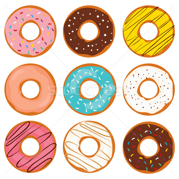Donut kleurrijk collectie illustratie zoete Stockfoto © Kakigori