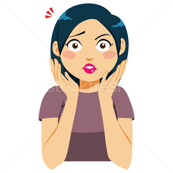 Сток-фото: женщину · лицом · удивленный · лице · рук