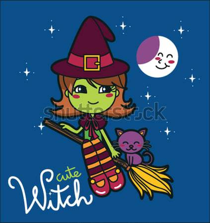 Cute Green Witch Stock photo © Kakigori