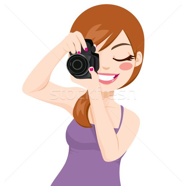 Woman Taking Photos Stock photo © Kakigori
