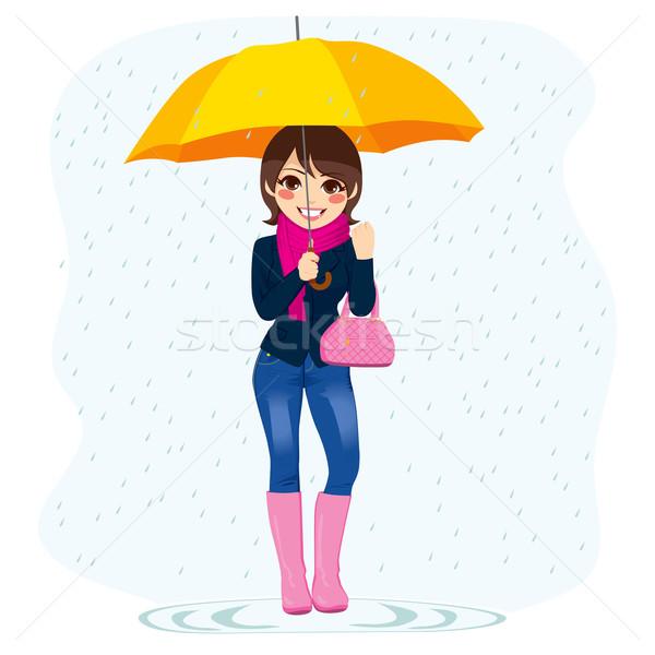 Woman In The Rain Stock photo © Kakigori