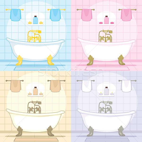 Vintage vasca da bagno bagno set interni classico Foto d'archivio © Kakigori