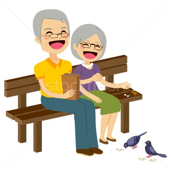 Senior Couple Feeding Birds Stock photo © Kakigori
