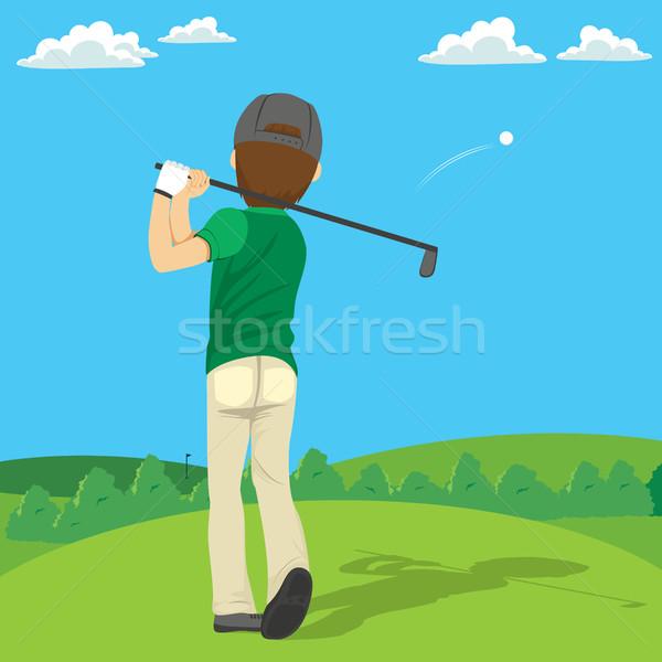 Golfer bal achteraanzicht illustratie spelen golf Stockfoto © Kakigori