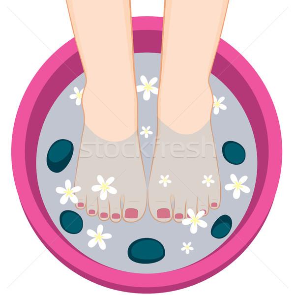 педикюр женщины ног Spa чаши иллюстрация Сток-фото © Kakigori