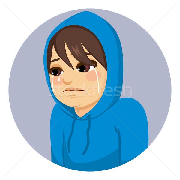 Szomorú tinédzser fiú sír kék fej Stock fotó © Kakigori