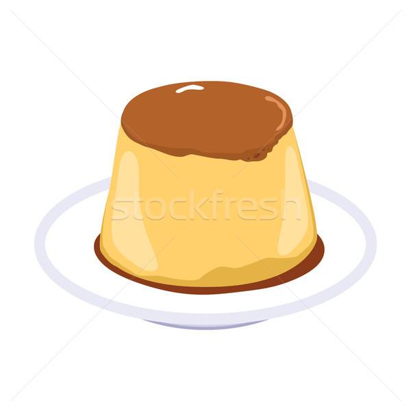 Karamel pudding illustratie dessert zachte restaurant Stockfoto © Kakigori