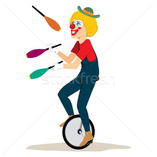 ジャグリング 一輪車 幸せ ピエロ 帽子 ライディング ストックフォト © Kakigori