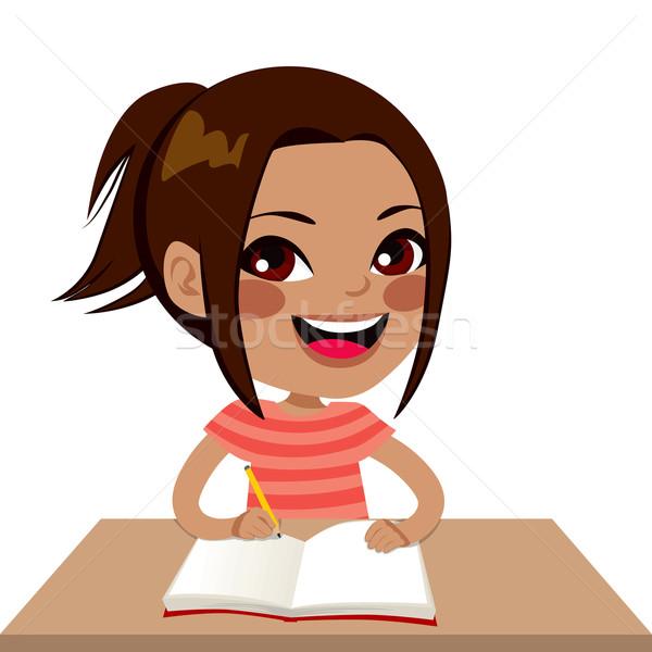 Latina Student Girl Writing Stock photo © Kakigori