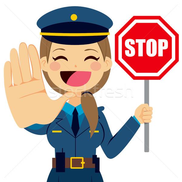 Mujer policía senal de stop ilustración parada signo tráfico Foto stock © Kakigori