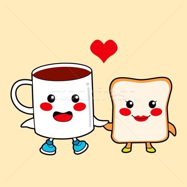 Chocolate brinde engraçado casal café da manhã Foto stock © Kakigori