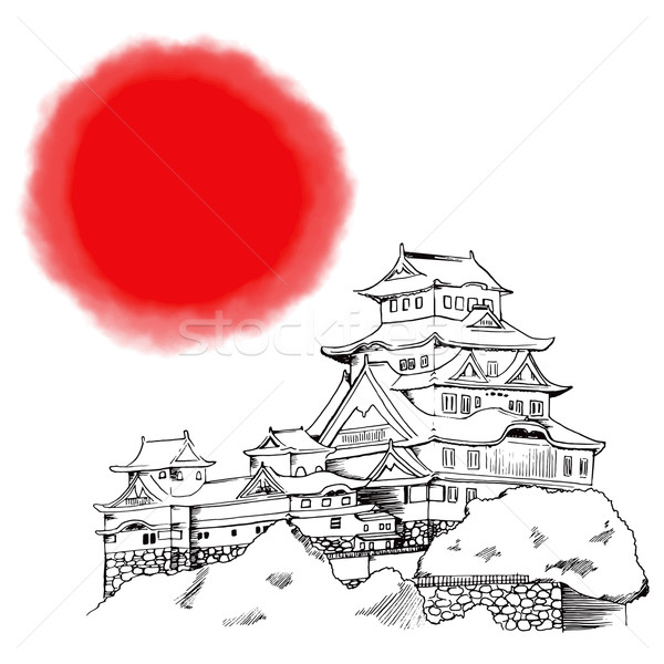 Japonais château ligne art illustration grand Photo stock © Kakigori