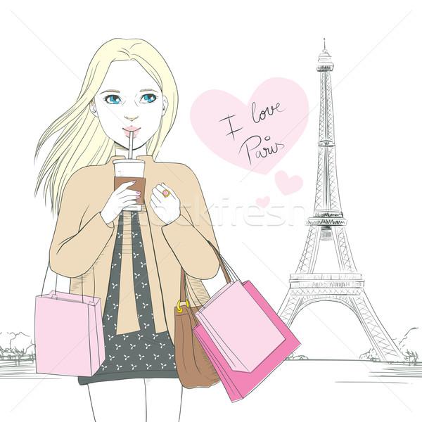 Liefde Parijs meisje aantrekkelijk blonde vrouw drinken Stockfoto © Kakigori
