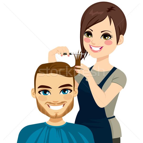 Hairdresser Cutting Man Hair Stock photo © Kakigori