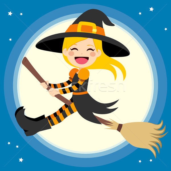Cute Witch Flying With Broom Stock photo © Kakigori