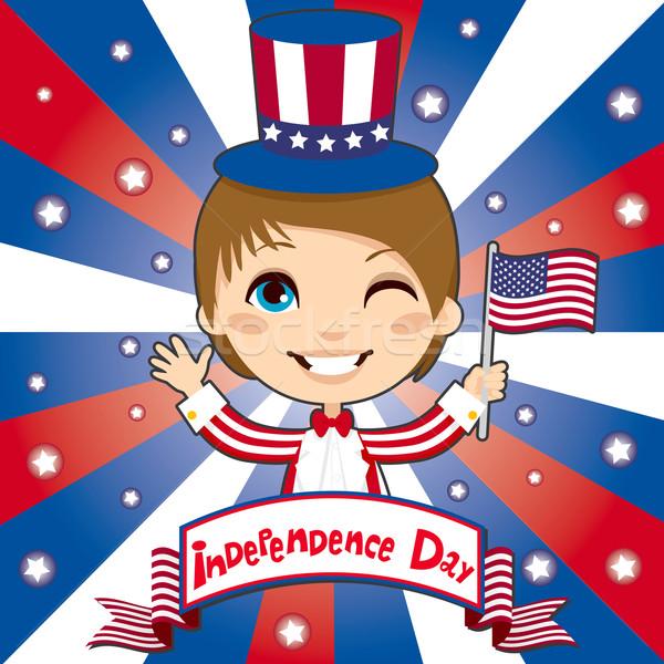 Nap gyerek ünnepel Egyesült Államok Amerika visel Stock fotó © Kakigori
