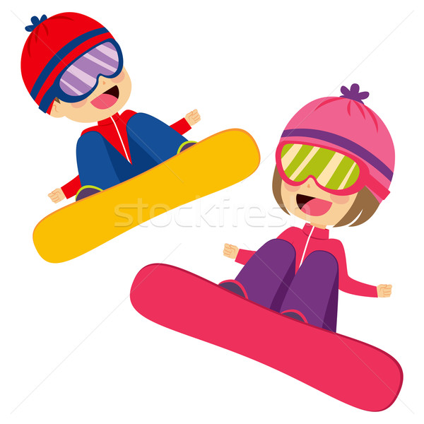 Kids Flying Snowboarding Stock photo © Kakigori