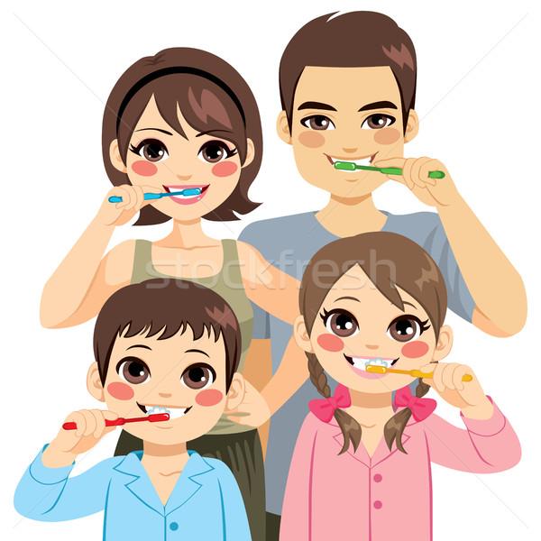 Family Brushing Teeth Stock photo © Kakigori