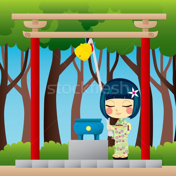 Японский девушки молиться мало юката синто Сток-фото © Kakigori