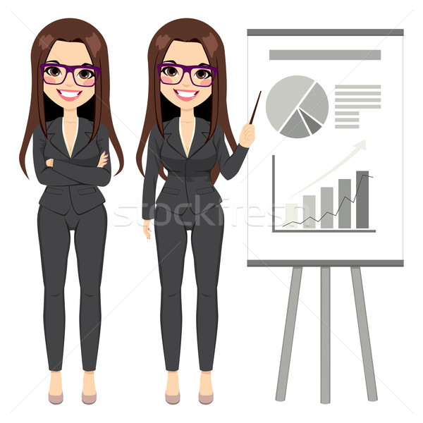 Businesswoman Pointing Chart Stock photo © Kakigori