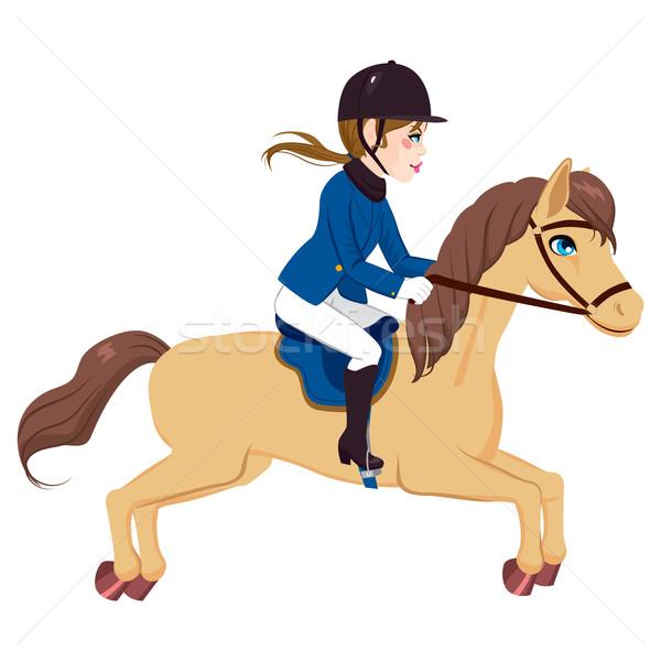 Equestrian Woman Running Horse  Stock photo © Kakigori