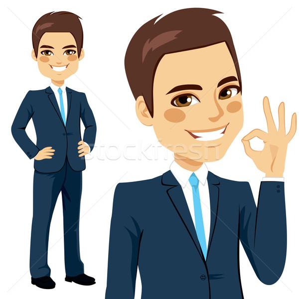 üzletember oké felirat mosolyog mutat kézjel Stock fotó © Kakigori