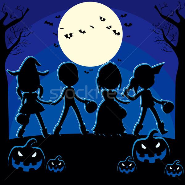 Halloween noite crianças truque abóbora Foto stock © Kakigori
