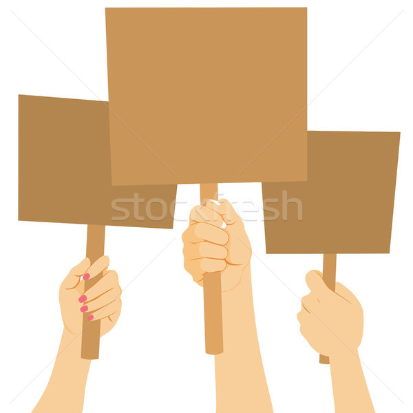 Stockfoto: Protest · banner · armen · illustratie · macht