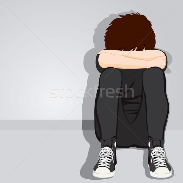 Triste adolescente menino desesperado ocultação cara Foto stock © Kakigori