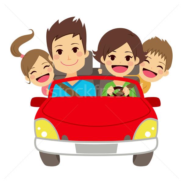 Boldog család autó illusztráció aranyos négy mosolyog Stock fotó © Kakigori