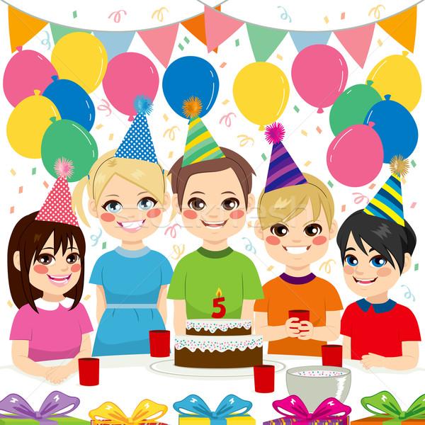 Crianças festa de aniversário bonitinho feliz aniversário Foto stock © Kakigori