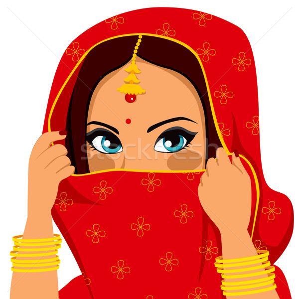 Indian Woman Covering Face Stock photo © Kakigori