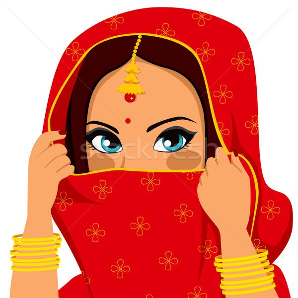 индийской женщину лице красивой брюнетка традиционный Сток-фото © Kakigori
