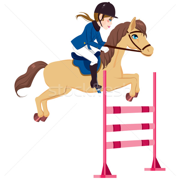 Equestrian Woman Jumping Horse