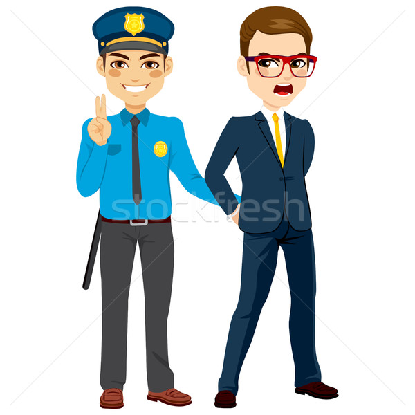 Policeman Arresting Criminal Businessman Stock photo © Kakigori