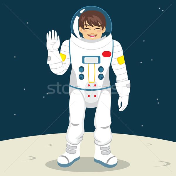 űrhajós integet kéz fiatal boldog űrhajós Stock fotó © Kakigori