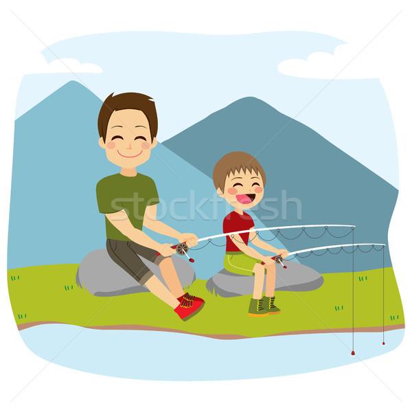 Father And Son Fishing Stock photo © Kakigori