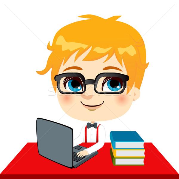 Geek Kid студент домашнее задание ноутбука книгах Сток-фото © Kakigori