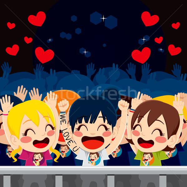 Szurkolók zene koncert csoport boldog szórakozás Stock fotó © Kakigori