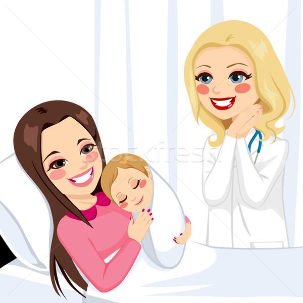 Foto stock: Mulher · recém-nascido · menina · belo · jovem